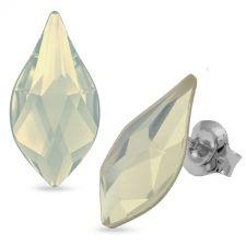 Обеци украсени със SWAROVSKI® FLAME White Opal - Бял опал цвят 14 мм, Код PR E628