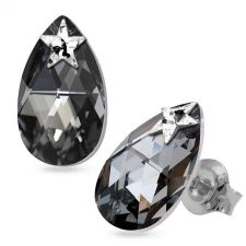 Обеци STAR украсени със SWAROVSKI® PEAR DROP 16мм Silver Night** AB Crystal - Черен, Код PR E553