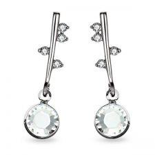 Обеци POINT Swarovski® Chaton Crystal - Бял, Код PR E490