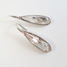 Висящи обеци с кристали SWAROVSKI® RAINDROP 30мм, Crystal, Бял, Код PR E570B