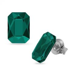 Обеци украсени със SWAROVSKI® GRAPHIC 14мм Emerald, Зелен, Код PR E585