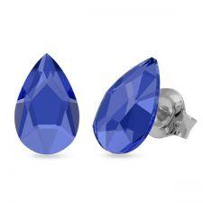 Обеци украсени със SWAROVSKI® PEAR 8мм, Sapphire - Син цвят, Код PR E598