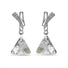 Обеци FAITH Swarovski® Triangle, Crystal**, Бял, Код PR E482