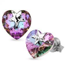 Обеци STAR, украсени със SWAROVSKI® кристали HEART Vitrail Light** VL, Лилаво-зелен цвят, Код PR E576