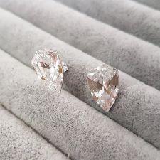 Обеци с кристали Swarovski® SLIM TRILLIANT на винт, ръчна изработка в Crystal - Бял цвят, Код PR E547