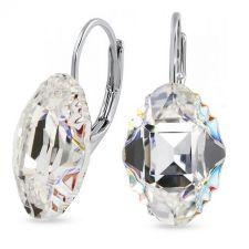 Обеци с английско закопчаване с кристали SWAROVSKI® OVAL TRIBE 14мм, Crystal AB, Бял, Код PR E562B
