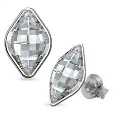 Обеци, декорирани с кристали SWAROVSKI® LEMON 14мм, Crystal, Бял, Код PR E568