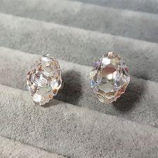 Обеци, декорирани с кристали SWAROVSKI® OVAL TRIBE 14мм, Crystal AB, Бял, Код PR E562