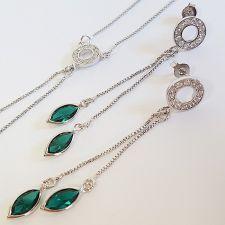 Обеци AMIKOS SWAROVSKI® MARQUISE 10мм Emerald - Зелен, Код PR E541
