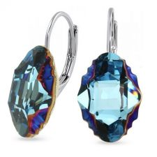 Обеци с английско закопчаване с кристали SWAROVSKI® OVAL TRIBE 14мм, Metallic Blue Z, Син, Код PR E561B
