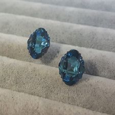 Обеци, декорирани с кристали SWAROVSKI® OVAL TRIBE 14мм, Metallic Blue Z, Син, Код PR E561