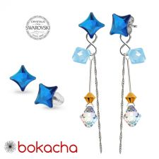 Обеци CANDY STARLET с кристали Swarovski®, Multi/ Bermuda Blue BBL, Син, Неръждаема Стомана, Код PR E590-L