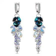 Обеци с кристали Swarovski® BLUE PASSION Bermuda Blue BBL, Син цвят, Код PR E534