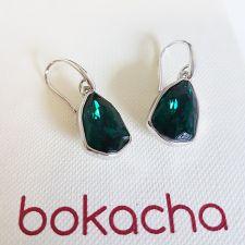 Обеци с кристали SWAROVSKI® SLIM TRILLIANT в цвят Emerald - Зелен цвят, Код PR E632A
