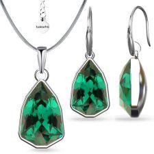 Бижута с кристали SWAROVSKI® SLIM TRILLIANT Emerald, Зелен цвят, Колие и обеци Код PR S632A