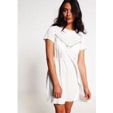 Ежедневна дамска рокля EVEN & ODD с дантела в бяло, Код DD0062