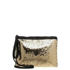 Двуцвента чанта Even&Odd, тип клъч в елегантно черно-златист цвят, Код F207