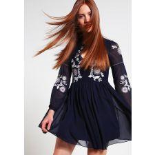 Елегантна рокля FROCH and FRILL с дантела и мъниста в тъмно син цвят, Код DD0028-FF