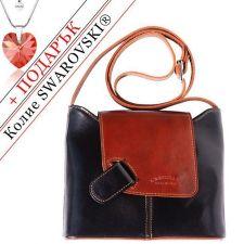 Чанта Естествена Кожа ГУАРАПО, FLORENCE, черен/кафяв цвят, Код FL2090