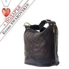 Чанта Естествена Кожа ЛОМБАРДИЯ, FLORENCE, черен цвят, Код FL300S3B