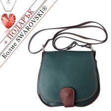 Чанта Естествена Кожа РИМИНИ, FLORENCE, тъмнозелен/кафяв цвят, Код FLB0247А