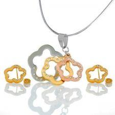 Бижута ПЕТ ЦВЕТЯ, Колие и Обеци от медицинска стомана със златно покритие, Код 316LFNE S243