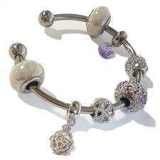 Гривна с талисмани ЦВЕТЕ НА ЖЕЛАНИЕТО, Swarovski® Pave Beads, Код PR B527