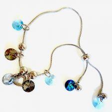 Гривна с кристали Swarovski® RIVOLI 8мм Aquamarine AB - Светло син, Код PR B462