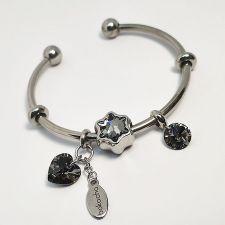 Гривна ПАДАЩА ЗВЕЗДА с талисмани SWAROVSKI® Pave Beads, Silver Night** AB - Черен, неръждаема стомана, Код PR B643
