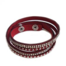 Гривна червена, инкрустирана с кристали, CRYSTAL бял цвят, Код PR B634