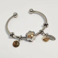 Гривна ЗЛАТНИ МИГОВЕ с талисмани SWAROVSKI® Pave Beads, Golden Shadow**, Златист- неръждаема стомана, Код PR B644