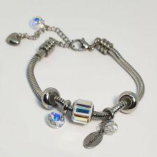 Гривна КРЕПКО ЗДРАВЕ за теб с талисмани SWAROVSKI® Pave Beads, Crystal AB- Бял, неръждаема стомана, Код PR B652
