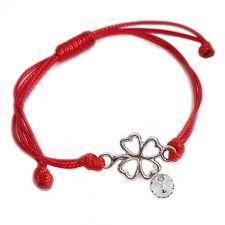 Гривна с червен конец, Детелина за Късмет SWAROVSKI® RIVOLI CRYSTAL бял цвят, Код PR B624