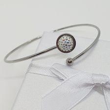 Гривна с кристали SWAROVSKI® PAVE PURE 8мм Crystal Aurore Boreale** AB- Бял цвят, Код PR B665