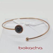 Гривна с кристали SWAROVSKI® PAVE PURE 8мм HEM - Черен цвят и Розово Злато, Код PR B666