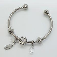 Гривна ВЕЧНО ЗДРАВЕ с талисмани SWAROVSKI® Pave Beads, Crystal- Бял, неръждаема стомана, Код PR B648