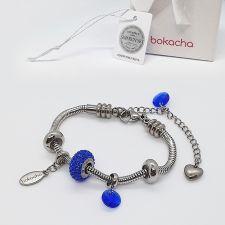 Гривна ВЪЛШЕБНО НАМИГВАНЕ с талисмани SWAROVSKI® Pave Beads Majestic Blue - Син, неръждаема стомана, Код PR B649