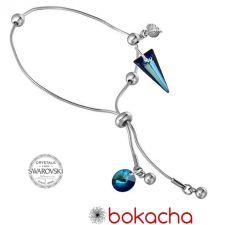 Гривна с кристали Swarovski® SPIKE 18мм Bermuda Blue BBL - Син цвят, Код PR B615