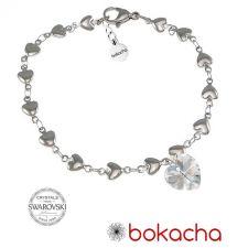 Гривна с кристали Swarovski® HEART Crystal AB 10 мм, Бял цвят, Код PR B005