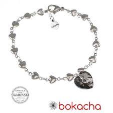 Гривна с кристали Swarovski® HEART Silver Night** AB - Черен, 10 мм, Код PR B012