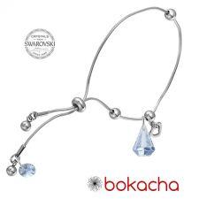 Гривна с кристали Swarovski® RAINDROP 14мм Blue Shade**, Син, Код PR B453А