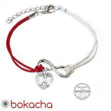 Гривна МАРТЕНИЦА SWAROVSKI® HEART CRYSTAL бял цвят, Код PR B447