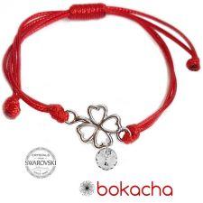 Гривна за Късмет с червен конец, Детелина SWAROVSKI® RIVOLI CRYSTAL бял цвят, Код PRFNS B624