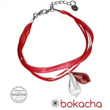 Гривна МАРТЕНИЦА SWAROVSKI® TEAR CRYSTAL & SIAM, бял и червен цвят, Код PR B436C