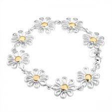 Позлатена дамска гривна - Маргаритки, сребърно покритие и печат 925! 925 H03649