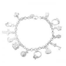 Дамска гривна с много висулки, сребърно покритие и печат 925! 925 H16444