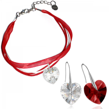 Бижута МАРТЕНИЦА SWAROVSKI® HEART CRYSTAL & SIAM, бял и червен цвят, Обеци и Гривна,14 мм и 10мм, Код PR S435-B