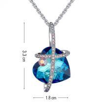 Колие и обеци MAGIC HEART инкрустирани със SWAROVSKI® Bermuda Blue-Син цвят, Код PR S545