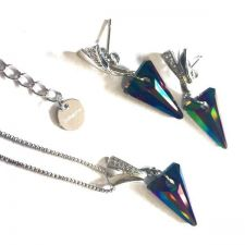Бижута FAITH Swarovski® Spike, Rainbow Dark**, Многоцветен, Колие и Обеци, Код PR S481