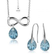 Бижута с кристали Swarovski® MINI PEAR INFINITY Denim Blue - Син, Колие и Обеци, 8мм, Код PR S415A